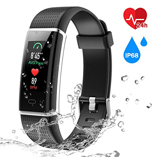 CHEREEKI Fitness Armband mit Pulsmesser IP68 Wasserdicht für Android & iOS (Schwarzer 4 Fall Gummi-iphone)