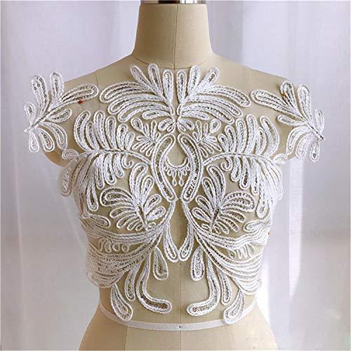 Blatt-Stickerei Spitzenapplikation Muster Materialien Spitze Patch mit Pailletten Nähen auf Brautkleid Hochzeit Kleid Abendkleid Verkauft von 1 Stück gebrochenes weiß -