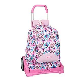 Moos  Flamingo Pink Oficial Mochila Juvenil, Modelo 572 con Carro Safta Evolution, 330x460x175 mm