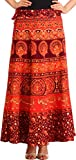 Exotic India Sanganeri Wrap-Around Long Skirt with Printed Peacocks and Elephants - Color Windsor Wine Garment Size Einheitsgröße meisten