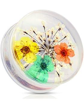 Paula & Fritz® Plug Saddle Fit aus Kunststoff getrocknete Blume gelb, orange, grün 12-25mm PAT03