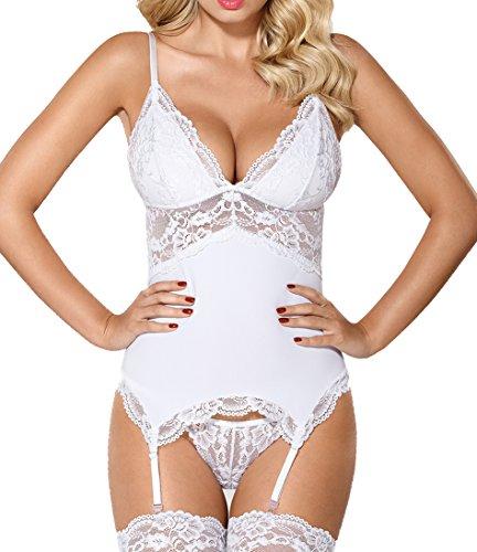 Damen Dessous Reizwäsche Strapshemd mit Soft Cups und String in weiß transparent aus glattem Material und Spitze Größe: L/XL -