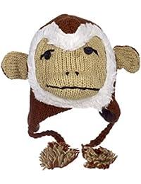 Divertido Mono Gorro de Lana de Invierno Hecho a Mano con diseño de Animal con Forro Polar, Unisex