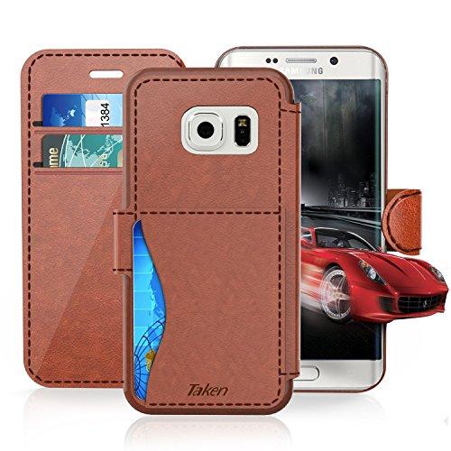 Samsung Galaxy S7 Leder Hülle, TAKEN [Stoßfest] [Wasserdicht] Kreditkartensteckplatzes - Ultra Dünn Handy Flip Hülle, für Samsung Galaxy S7 Cover - Braun - für Damen / Frauen / Jungs / Mädchen
