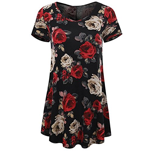 HET Damen Sommer T-Shirt Mode Kurzarm Sexy Schlank V-Ausschnitt Floral Druck Drucken Zusammengebaut Tops Damen Langen Rock Bluse (S, Schwarz) (XL, Schwarz) (M, Schwarz) (College Kostüme Für Jungs)