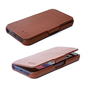 TABi Oxford iPhone 5s & 5 étui de protection véritable leather ouvert du côté de flip - Marron