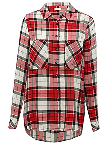 M&Co Teen Girl Long Sleeve Button Front Chest Pocket Multi Colour Check Pattern Shirt Red 158
