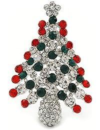 Holly Jolly rojo, verde, claro cristal austriaco árbol de Navidad broche/colgante en rodio chapado–55mm L