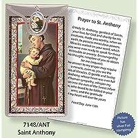 ST Saint Anthony Argento Foil Etched Verse preghiere e medaglia ciondolo - Foil Ciondoli