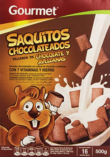 Gourmet Saquitos Chocolateados Rellenos de Chocolate y Avellanas, Cereales - 500 g