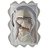 Quadro Madonna e Bambino Argento colorato tavola Sagomata