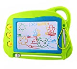 Magnetic Drawing Board Mini Travel Doodle, Erasable Writing Sketch Colorful Pad Area Educational Learning Toy for Kid / Toddlers/ Babies with 3 Stamps and 1 Pen, Green