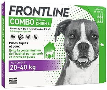 FRONTLINE Combo Chien - Anti-puces anti-tiques chien - 20-40kg - 6 pipettes