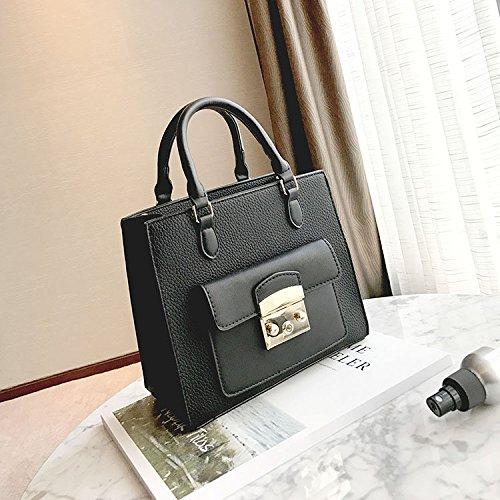 WTUS Damen Neue Stilvolle Schulter-Kurier Kleines Quadratisches Paket Wilde Einfache Kleine Tasche Farbtrend Handtaschen Schwarz