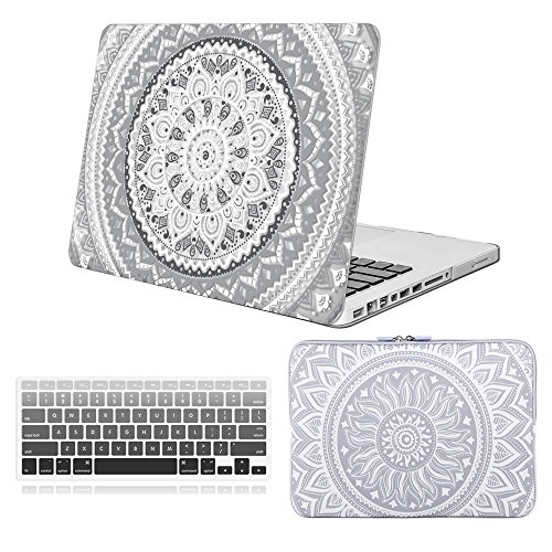 iCasso 3 in 1, iCasso MacBook Pro 13 '' Ultra Slim gummibeschichtetes Cover + Tastaturcover + Schutzhülle für MacBook Pro 13 Zoll (Modell: A1278), grau-weißes Medaillon -