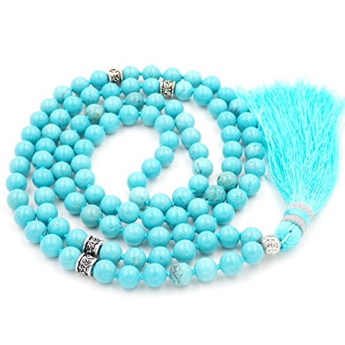 Collana di perline mala, perline mala braccialetto, rosario buddista collana, tassel collana (green turchese) …
