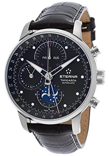 Eterna Men's Tangaroa Automatic Chronograph Black Genuine Leather and Dial