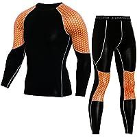 SANANG Herren Cool Dry Compression Shirt Running Baselayer T-Shirts und Hosen Sport Set