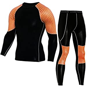 SANANG Herren Cool Dry Compression Shirt Running Baselayer T-Shirts und Hosen Sport Set