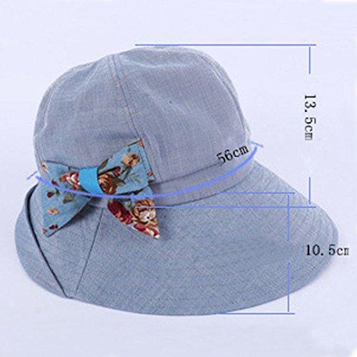 Leben femme bords larges été Protection UV Traveler Beach Bonnet Casquette de pêche Bleu - Bleu marine