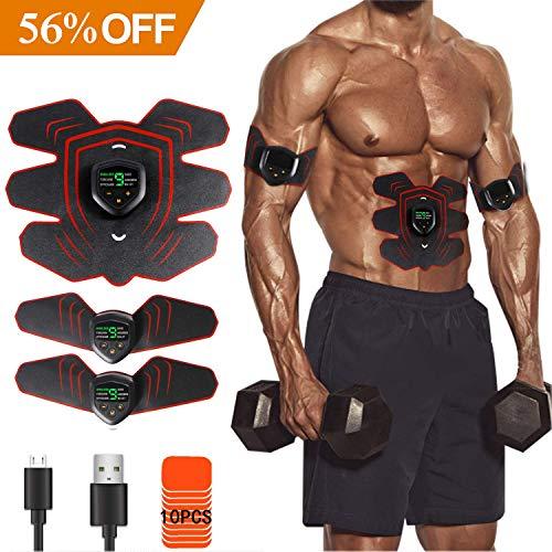 Mansso EMS Muskelstimulator LED Display Bauchmuskeltrainer Set für effektives Bein-/Armtraining, Muskelaufbau und Fettverbrennung Home Fitness Maschine, USB Wiederaufladbares Elektrisches Gerät, mit 10 Ersatz Elektroden Pads und 10 Stufen Intensitäten, Unisex
