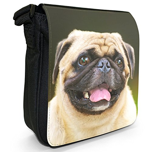 Carlino Pugs Love Little Cani Piccola Borsa a tracolla tela nera, misura piccola Happy Pug With Tongue Out