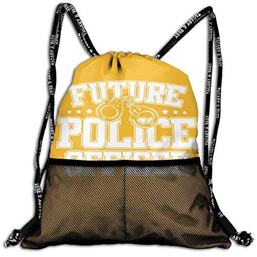 ziHeadwear Future Police Officer Drawstring Bag Sport Gym Sack Bundle Backpack Daypack for Men and Women Outdoor Shopping Satchel Rucksack - Officer Baseball