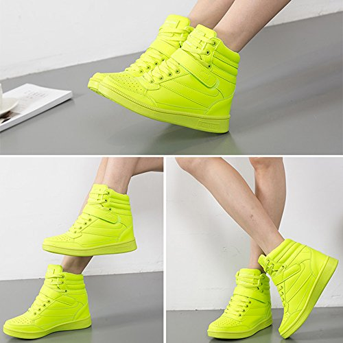 BAINASIQI Sneaker Donna Zeppa Interna Alte Scarpe da Ginnastica Casuale cuneo piattaforma catena stivaletti traspirante Scarpe sportive Verde-01