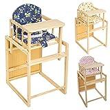 TecTake Kinderhochstuhl Kombihochstuhl Hochstuhl Babyhochstuhl Holz Baby Stuhl