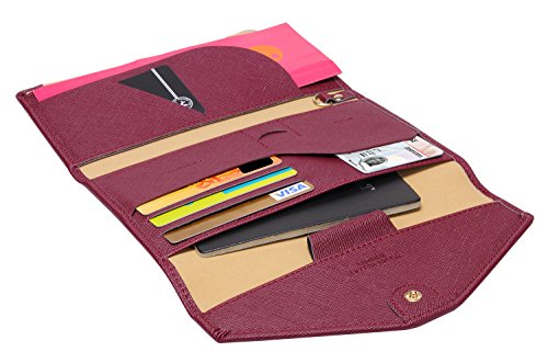 Zoppen RFID Blocker Reisepasshülle (Ver.4) Passport Hülle Halter dreifach Dokumente Organizer, #8 Wein Rot / Burgundy