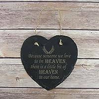 amata in heaven Wall Plaque ardesia appeso cuore, placca commemorativa