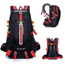 YUMOMO 40L impermeable Mochila de senderismo Trekking Camping Viajes al aire libre deporte mochila Pack Alpinismo escalada bolsa de mochila (negro, 40L)