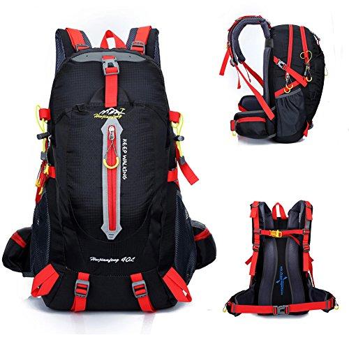 #40 Liter Outdoor Trekkingrucksäcke, YUMOMO Herren und Damen Wasserdichter Wanderrucksäcke Camping Rucksäcke Sport für Die Reise Bergsteigen (schwarz, 40L)#