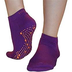 Pilates, Yoga, Artes Marciales, Fitness, Danza, Barre. Antideslizante / antideslizante, Prevención de Caídas, Calcetines Grip, Medias (Púrpura / Naranja) Grip Socks