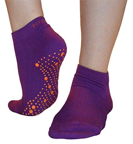 Pilates, Yoga, Barre, Kampfsport, Fitness, Tanz. Anti-Rutsch, Stürze Prävention Grip-Socken (Lila / Orange) Grip Socks