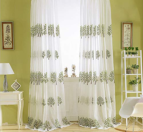 BW0057 Sheer Curtain Panel Embroidery Rod Pocket Top for Living Room Privacy (1 Panel W 50 x L 63,inch) -