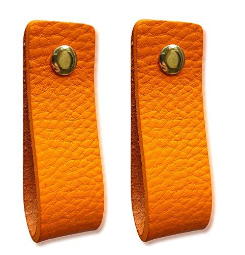 maniglie in pelle per mobili, arancione, 2 pezzi, per armadi, cucina e porta, con viti in 3 colori