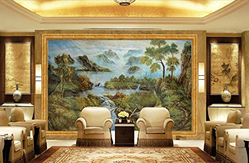 Lqwx Anpassen Von 3D Wallpaper Europäischen Landschaftsmalerei Marmor Öl Malerei Hintergrund Wall...