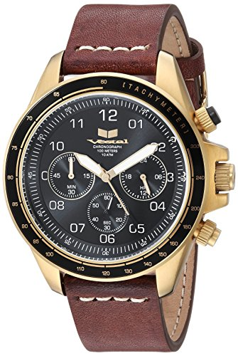 Vestal 'ZR2' Quartz Stainless Steel and Leather Casual Watch, Color:Brown (Model: ZR243L25.BRWH)