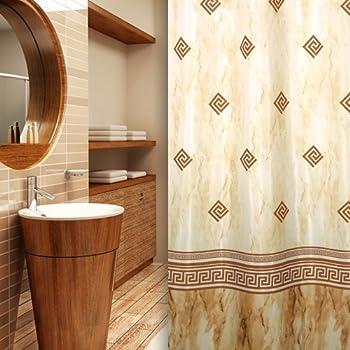 Textile rideau de douche cercles blanche marron points 240 x 180 qualit bagues inclue amazon - Rideau de douche 180x180 ...