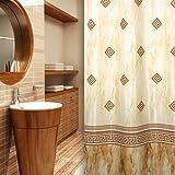 KS Handel 24 Textil Duschvorhang 240x200 cm/Kolonial Braun Beige Ornamente