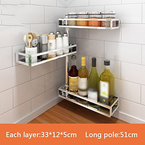 GRY Küche Ecke Köcher Halter frei Punch Regal Wand Anhänger Regal Band Suppe Gewürz Regal Multilayer Wand,33 * 12 * 51 cm -