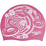 Speedo Junior Slogan Swimming Cap, Kids Free Size (Pink/White)