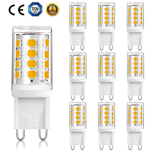 G9 LED 2W Glühbirne 20W 28W Halogen Ersetzt Warmweiß 3000K, AC220-240V, 360 ° Abstrahlwinkel, Stiftsockel G9, 10er Pack [Energieklasse A ++]
