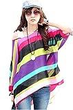 SEX GIRL Oblique Long Sleeves Rainbow Printed Large Chiffon Bats Sleeves Blouse