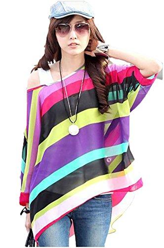 Preisvergleich Produktbild SEX GIRL Großer Regenbogendruck Schräge Kragen Mit Langen Ärmeln Chiffon Fledermaus Ärmel Bluse,Zahl,Einheitsgröße