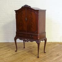witchantiques.com Vintage Queen Anne Style Mahogany Cocktail Cabinet (Circa 1950)