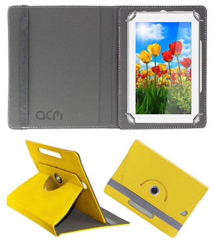 Acm Rotating 360° Leather Flip Case for Tescom 4gb 2g 7 Cover Stand Yellow  available at amazon for Rs.149