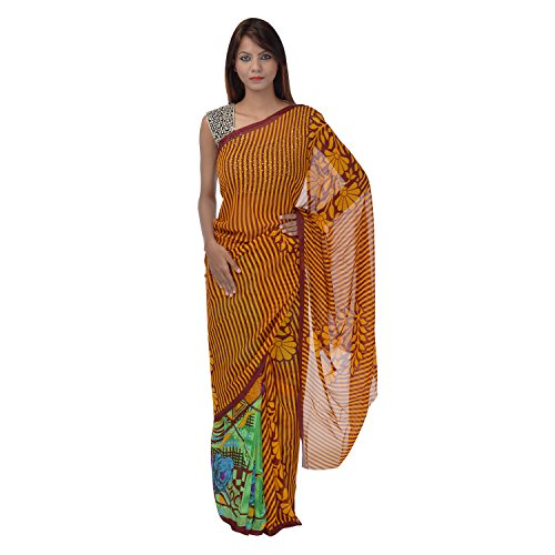 Saundarya Sarees Women Chiffon Printed Yellow and Green Saree