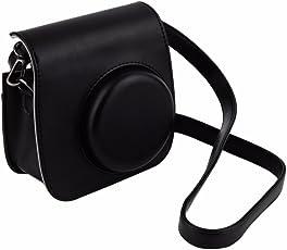 LEDMOMO PU Leather Camera Case Camera Cover Camera Bag Protective Case Shoulder Bag Pouch Crossbody Bag Satchel for Fujifilm Instax Mini 8/8+/ 9 Instant Camera (Black)